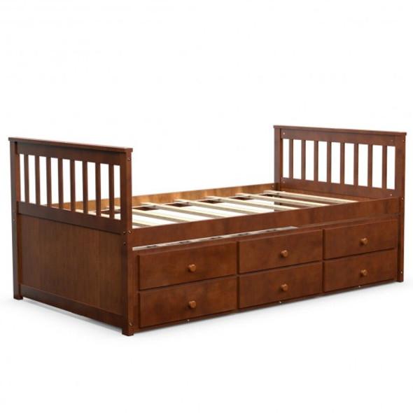 Alternative Twin Captain's Bunk Bed-Walnut