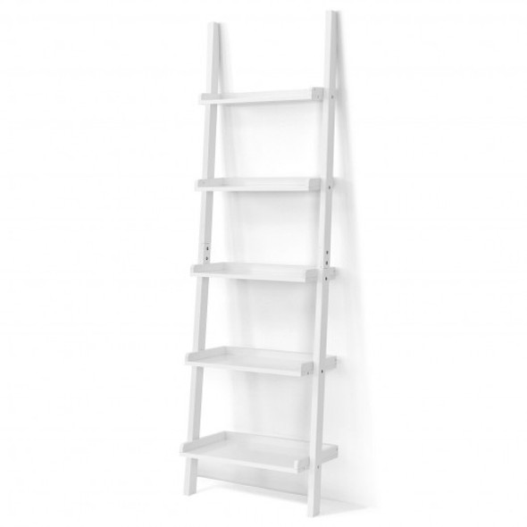 5-Tier Wall-leaning Ladder Shelf  Display Rack for Plants and Books-White