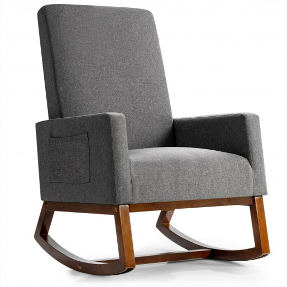 Rocking High Back Upholstered Lounge Armchair with Side Pocket-Gray