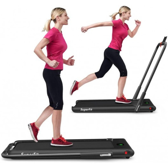 2-in-1 Folding Treadmill with RC Bluetooth Speaker LED Display-Black