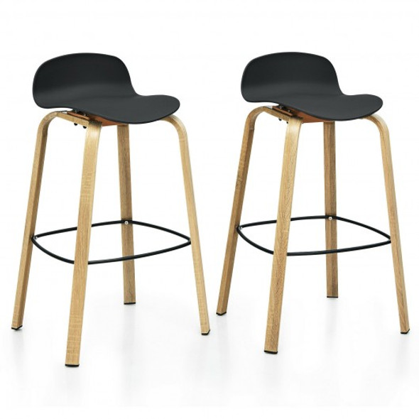 Set of 2 Modern Barstools Pub Chairs with Low Back and Metal Legs-Black