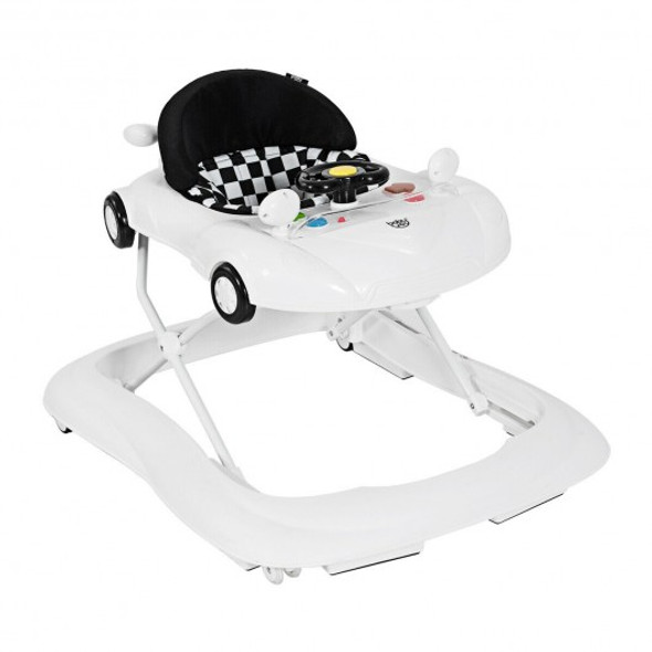 2-in-1 Foldable Baby Walker with Music Player and Lights-White