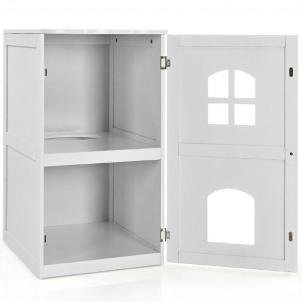 2-Tier Hidden Cat House Enclosure Nightstand-White