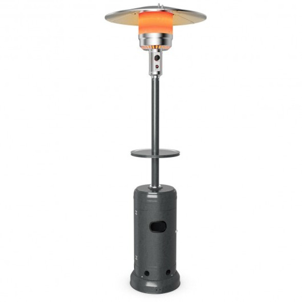 Outdoor Heater Propane Standing LP Gas Steel with Table & Wheels-Gray