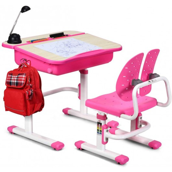 Kids Desk and Chair Set Children's Study Table Storage-Pink