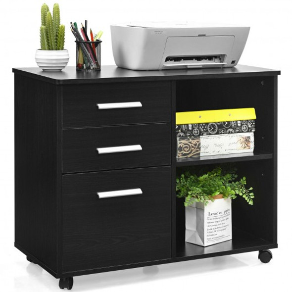 3-Drawer Mobile Lateral File Cabinet Printer Stand-Black