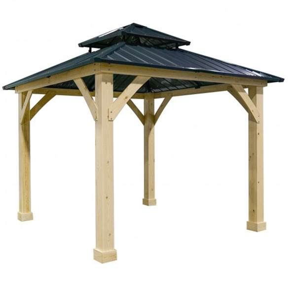 10' x 10' Patio Hardtop Gazebo with Double Steel Roof for Outdoor-Gray