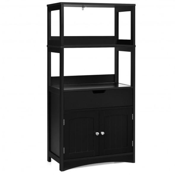 Bathroom Storage Cabinet with Drawer and Shelf Floor Cabinet-Black