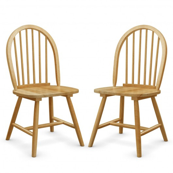 Set of 2 Vintage Windsor Wood Chair with Spindle Back for Dining Room