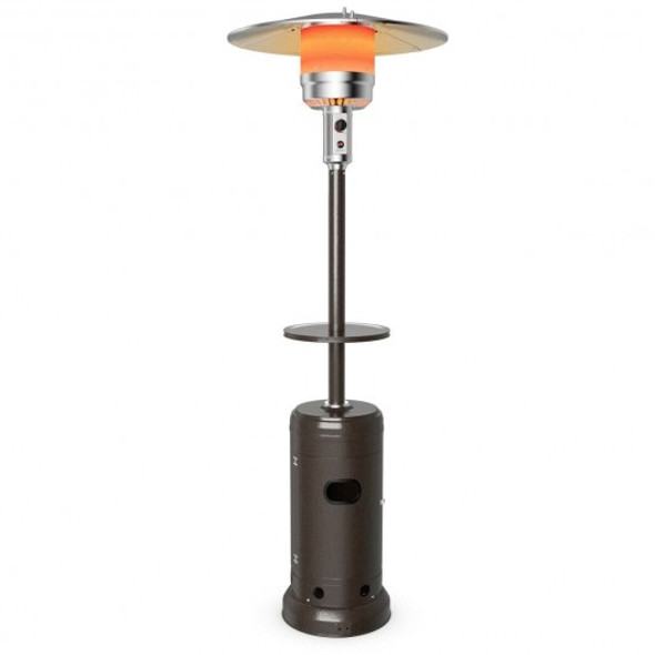 Outdoor Heater Propane Standing LP Gas Steel with Table & Wheels-Brown