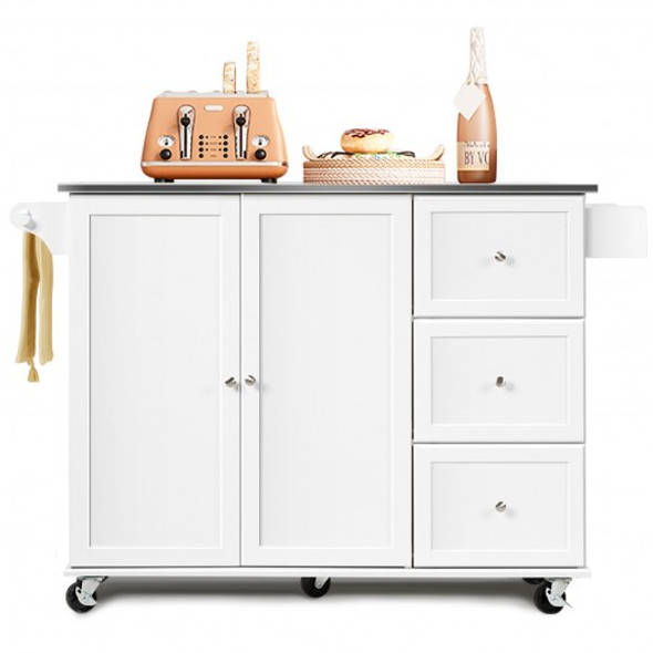 Kitchen Island 2-Door Storage Cabinet with Drawers and Stainless Steel Top-White