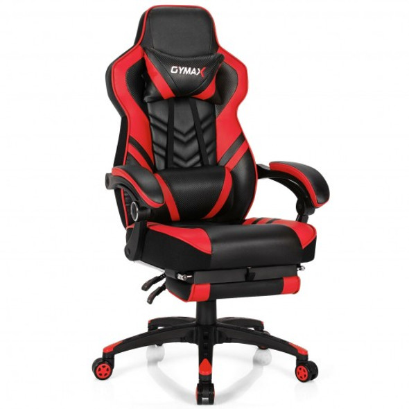 Adjustable Gaming Chair with Footrest for Home Office-Red