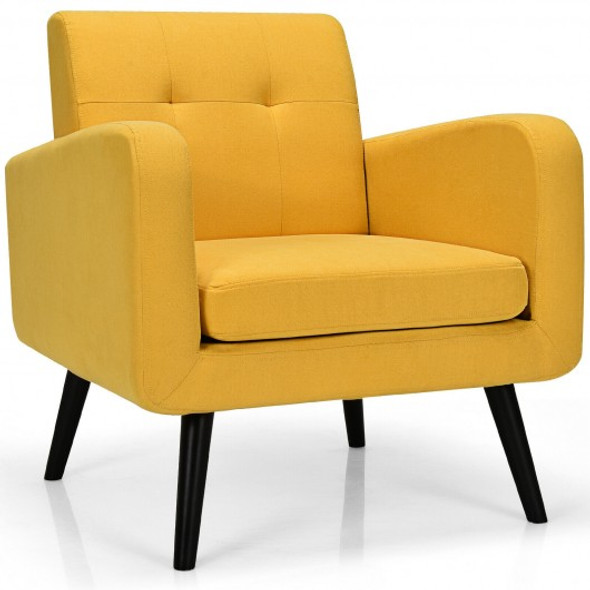 Modern Upholstered Comfy Accent Chair Single Sofa with Rubber Wood Legs-Yellow