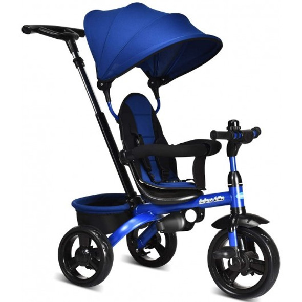4-in-1 Kids Tricycle with Adjustable Push Handle-Blue
