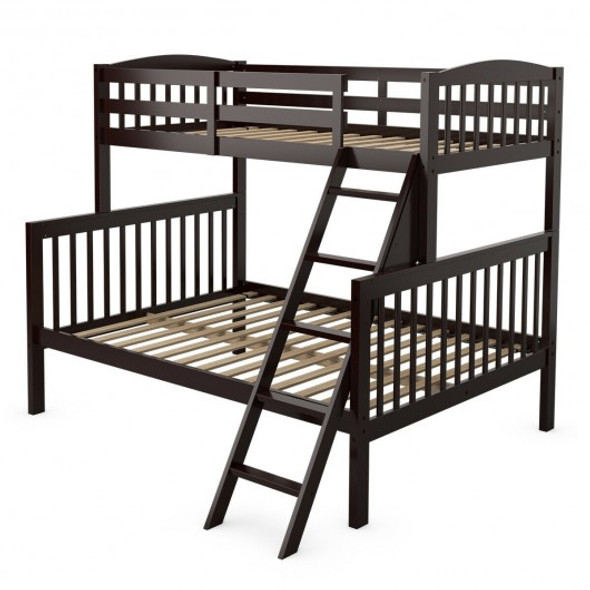 Twin over Full Bunk Bed Rubber Wood Convertible with Ladder Guardrail-Espresso