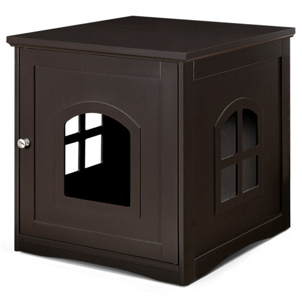 Side Table Nightstand Decorative Cat House-Brown