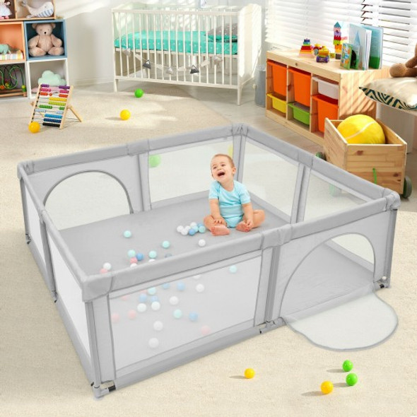 Large Infant Baby Playpen Safety Play Center Yard with 50 Ocean Balls-Gray