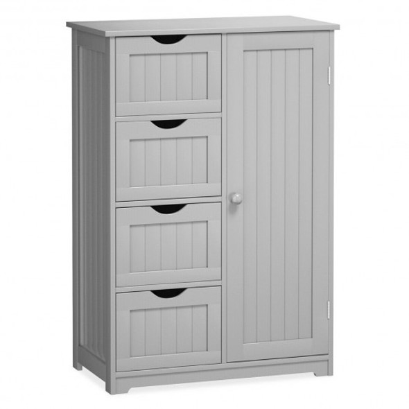 Standing Indoor Wooden Cabinet with 4 Drawers-Gray - COHW65930GR