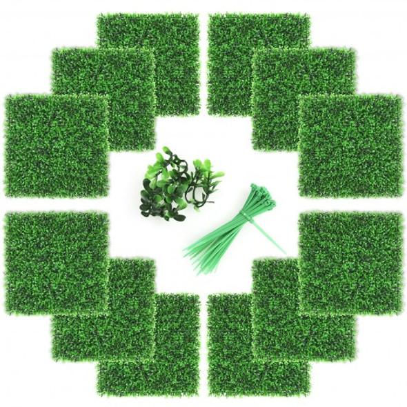 "12 Pcs Artificial Peanut Leaf Hedges Panels 20"" x 20"" Fence Wall Plant"