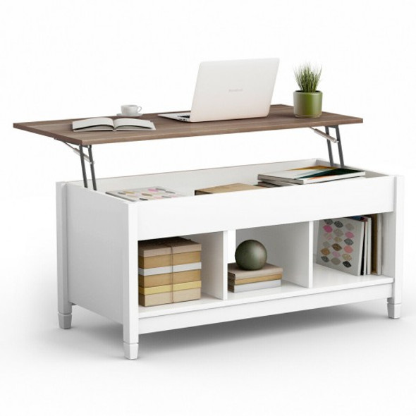 Lift Top Coffee Table with Hidden Storage Compartment-White