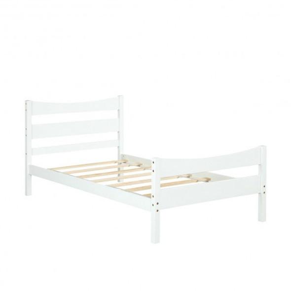 Twin Size Platform Bed Frame Foundation Slat Support -White