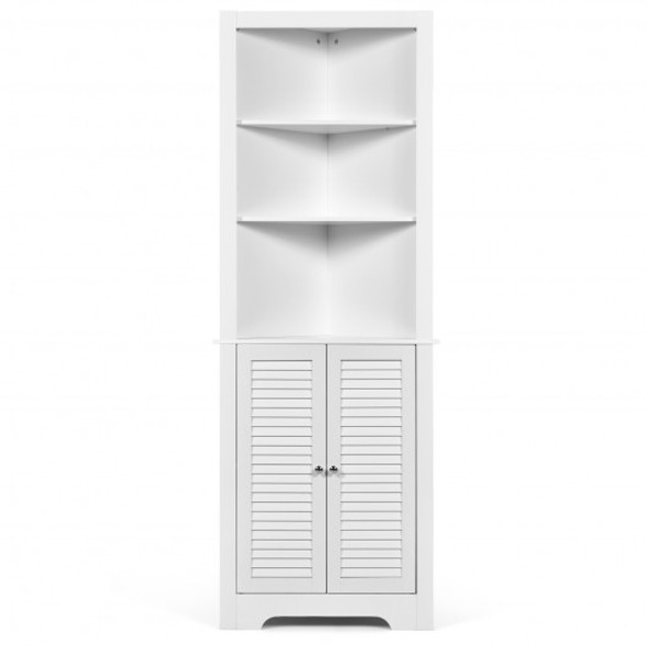 Free Standing Tall Bathroom Corner Storage Cabinet with 3 Shelves-White