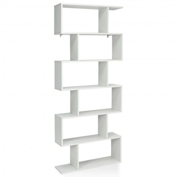 6 Tier S-Shaped Bookshelf Storage Display Bookcase Decor Z-Shelf -White