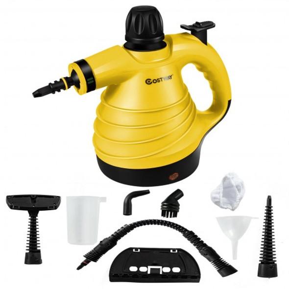1050W Portable Multipurpose Pressurized Handheld Steam Cleaner-Yellow