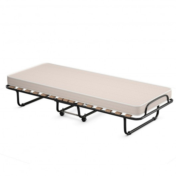Portable Folding Bed with Foam Mattress and Sturdy Metal Frame Made in Italy-Beige
