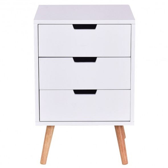 White Wood Side End Table Nightstand W/3 Drawers Mid-Century Accent