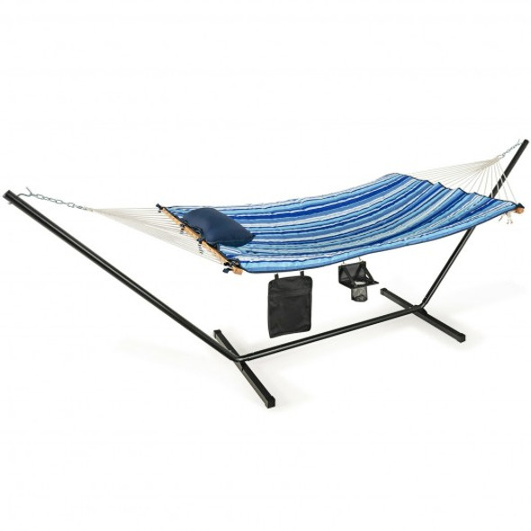 Hammock Chair Stand Set Cotton Swing with Pillow Cup Holder Indoor Outdoor