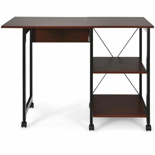 Rolling Folding Computer Desk with Storage Shelves