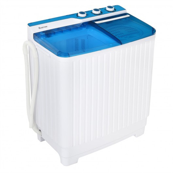 Portable Semi-automatic Washing Machine with Built-in Drain Pump-Blue