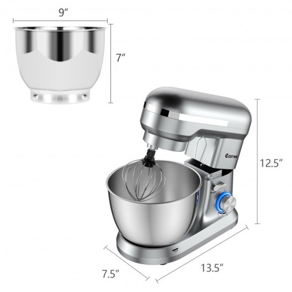 4.8 Qt 8-speed Electric Food Mixer with Dough Hook Beater-Silver