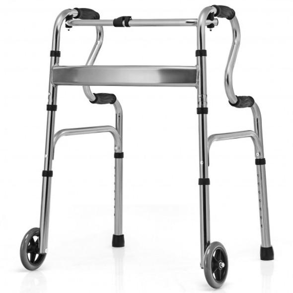 Aluminum Heavy-Duty Folding Wheeled Stand-Assist Walker-Gray