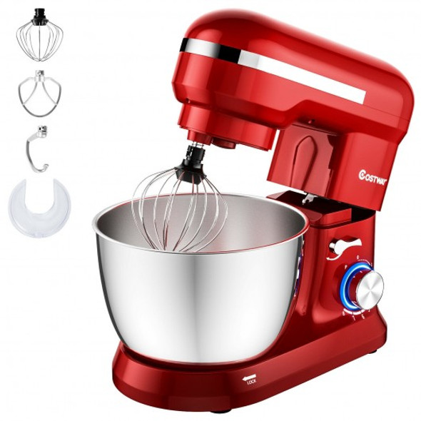4.8 Qt 8-speed Electric Food Mixer with Dough Hook Beater-Red