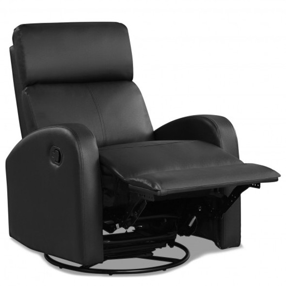 Recliner Chair Swivel Rocker Manual Single Sofa Lounger with Footrest-Black
