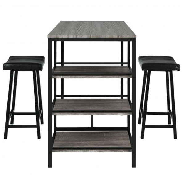 3 Pcs Counter Height Dining Bar Table Set with 2 Stools and 3 Storage Shelves-Black