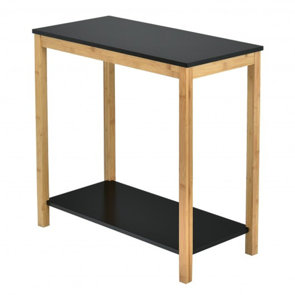 Bamboo Side Table 2-Tier Sofa End Console Table with Storage Shelf Felt Pad for Bedroom