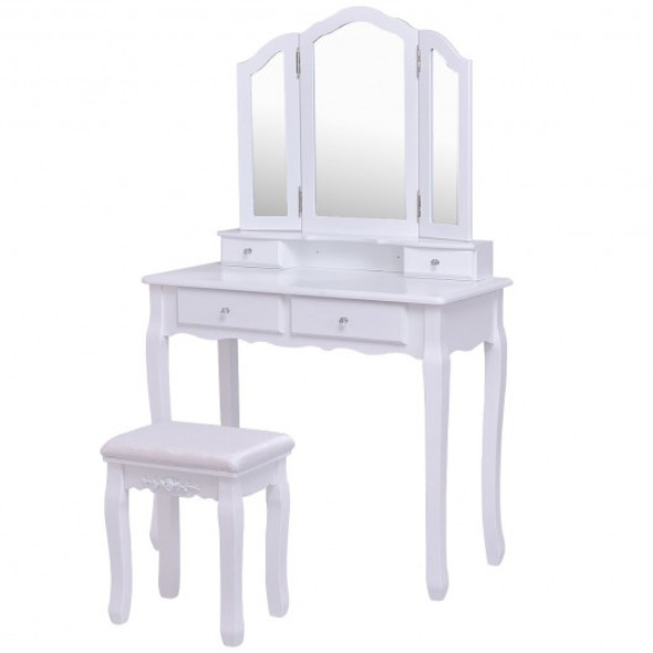 Tri Folding Mirror Vanity Table Stool Set with 4 Drawers and Cushioned Stool-White