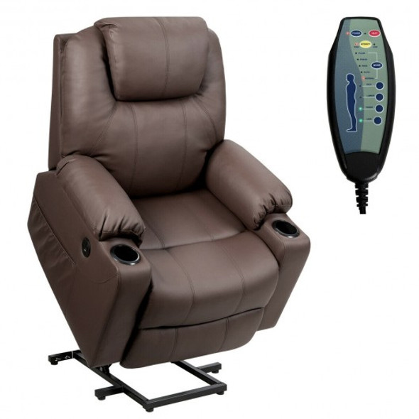 Electric Power Lift Leather Massage Sofa-Brown