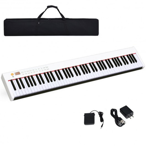 BX-II 88-key Portable Weighted Digital Piano with Bluetooth & MP3-White