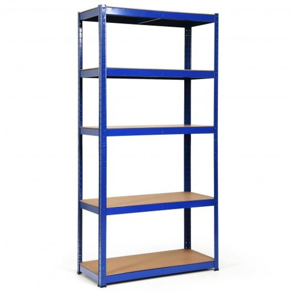 """72"""" Storage Shelf Steel Metal 5 Levels Adjustable Shelves-Navy"""