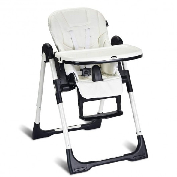 Foldable High chair with Multiple Adjustable Backrest-White
