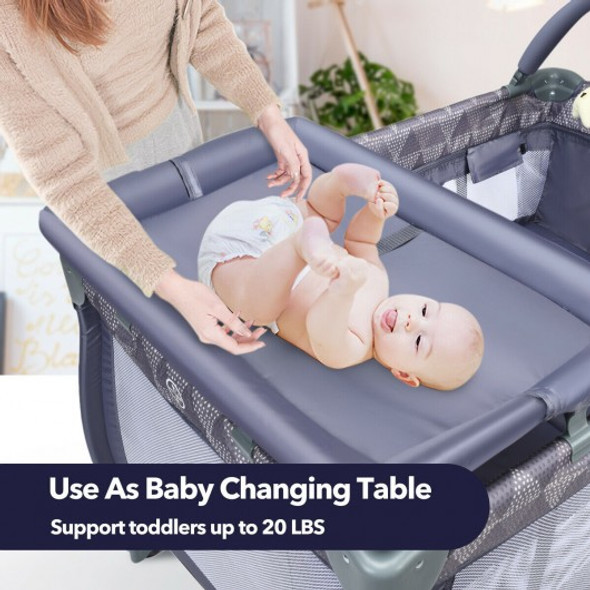 Portable Foldable Baby Playard Nursery Center with Changing Station-Gray