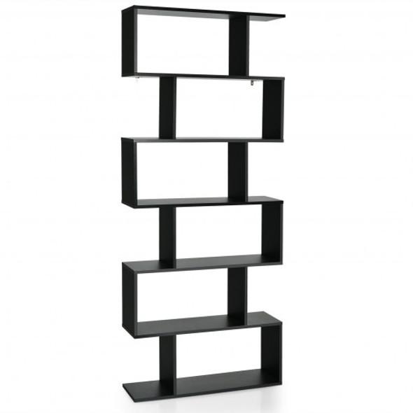 6 Tier S-Shaped Bookshelf Storage Display Bookcase Decor Z-Shelf -Black