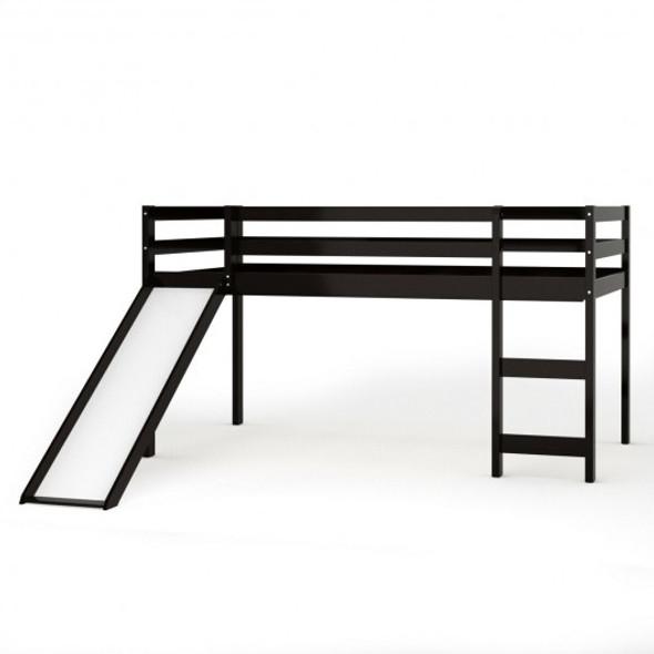 Twin Size Low Sturdy Loft Bed with Slide Wood -Espresso