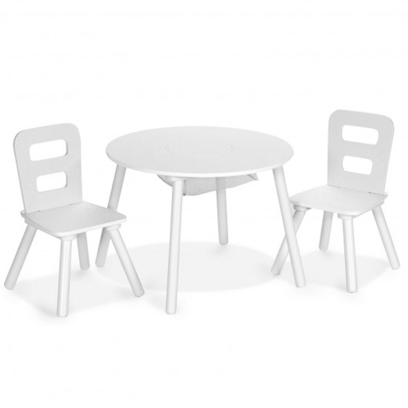 Wood Activity Kids Table and Chair Set with Center Mesh Storage for Snack Time and Homework-White