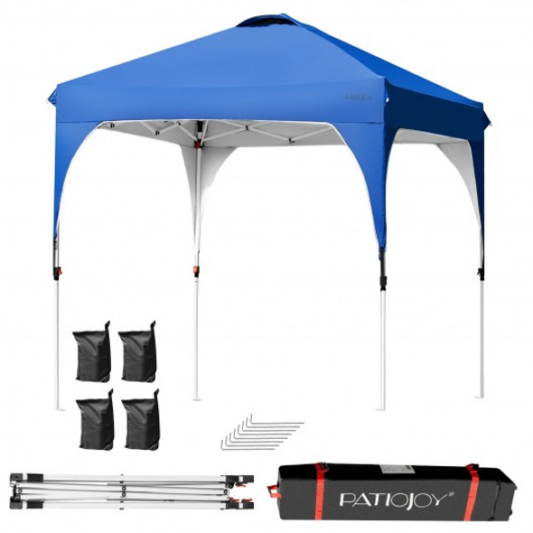 6.6 x 6.6 FT Pop Up Height Adjustable Canopy Tent with Roller Bag-Blue