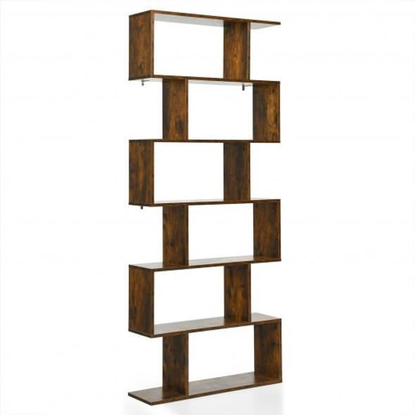 6 Tier S-Shaped Bookshelf Storage Display Bookcase Decor Z-Shelf -Coffee